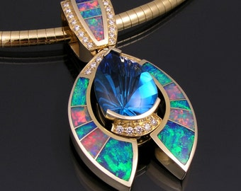 Australian opal pendant with topaz and diamond accents