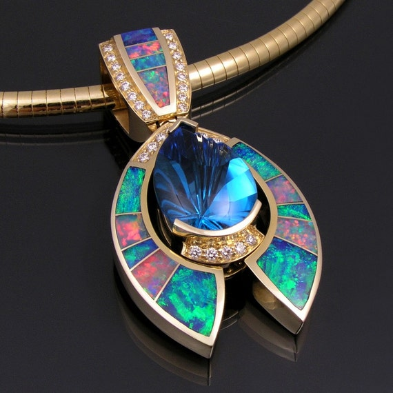Australian opal pendant with topaz and diamond accents aloadofball Gallery