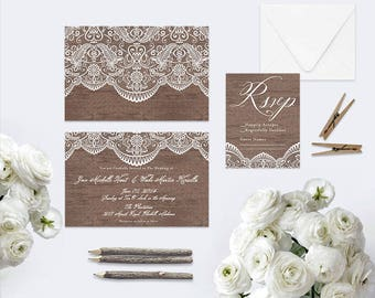 Lace & Wood Wedding Invitations / Shabby Chic Weddings or Rustic Weddings / Vintage-Inspired Invites / PRINTED Wedding Cards
