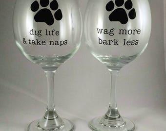 Dog Lover Wine Glass, Paw Wine Glass, Animal Lover Wine Glass, Animal Lover Gift