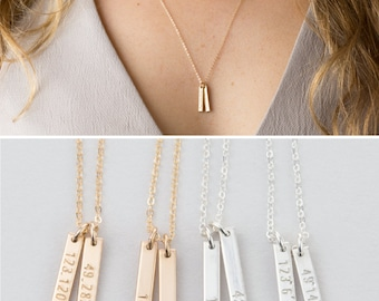 Coordinates Necklace • Custom GPS Location Necklace, Dainty Vertical Bar Necklace • 14k Gold Fill, Silver, Rose Gold Filled Necklace • LN128