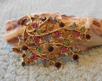 Coro colored-rhinestones brooch, gold tone branches, rhinestone flowers