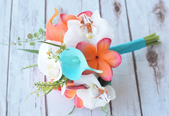 Coral And Turquoise Wedding: Wedding Coral Orange And Turquoise Teal Natural Touch Orchids