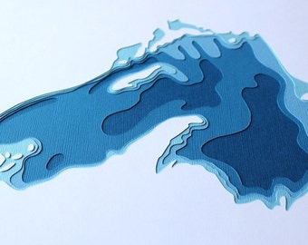 Lake Superior - original 12 x 12 papercut art