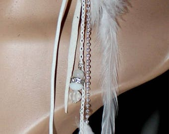 1 long earring designer or leather chains and white feathers pearls hair jewelry