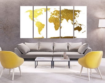 Gold world map canvas gilded world map print gold foil world extra large wall art gold foil world map canvas print world map wall art set world gumiabroncs Choice Image