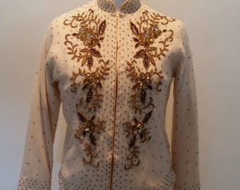 Vintage 1960s Ladies Ivory with Gold Beading & Sequins Cardigan Size Med to Large M L
