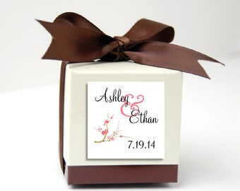 100 Cherry Blossoms Wedding Favor Stickers. Personalized printed square labels are 2 inches by 2 inches.