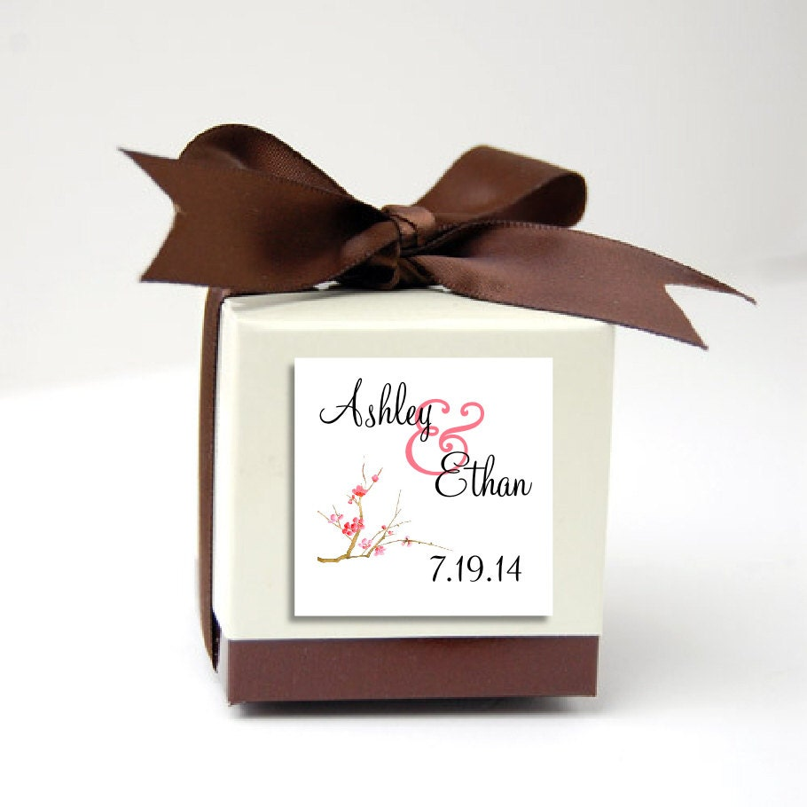 100 Cherry Blossoms Wedding Favor Stickers. Personalized printed ...
