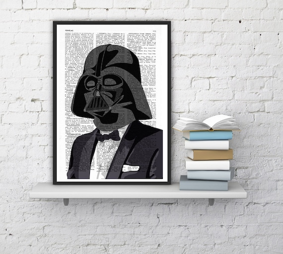 Summer Sale Star Wars art, Darth Vader wearing a suit, Gift dad  Birthday Gift Boyfriend ,Giclee print wall art, TYQ051b