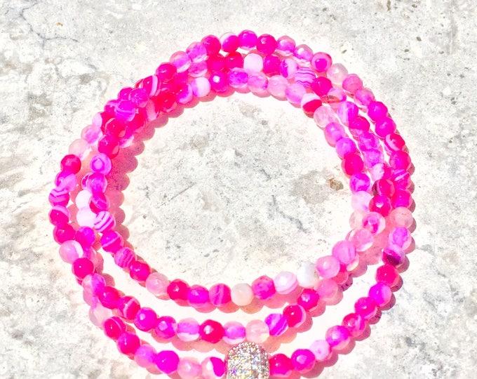 Pink Agate Bracelet- Pink Stone Bracelet- Pink Beaded Bracelet- Stackable Bracelet- Gemstone Bracelet- Mothers Day Gift- Bridal Shower Favor