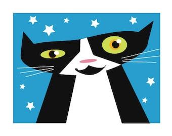 Crazy Tuxedo Cat Card