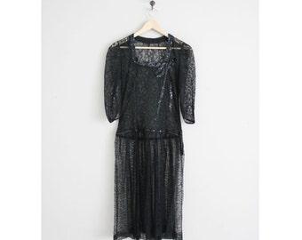 SALE | chantilly lace dress / 1930s dress / black lace dress