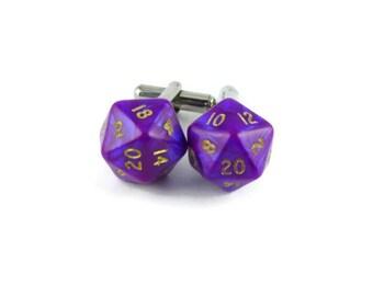 Purple Cufflinks, Men's Wedding Cufflinks, Nerdy Cufflinks, Dice Cufflinks, Geeky Cufflinks, Men's Nerdy Gift,