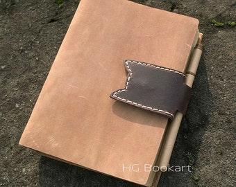 Cat belt Handmade leather journal , blank paper notebook ,longstich handbound,unique gift