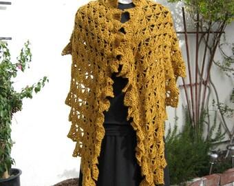 Crocheted Shawl, Gold Toned Wool Tencel Blend, Ruffled Chevron Shape, Lacy Crochet Stitch, Hand Made, Original Stitch and Design, Handmade