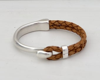 COGNAC braided leather with SILVER half cuff HOOK clasp.