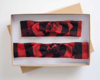Mommy and Me Baby Knot Headband Set - Buffalo Plaid Adult Jersey Headband - Baby Girl Headwrap - Toddler Turban - Red and Black Plaid