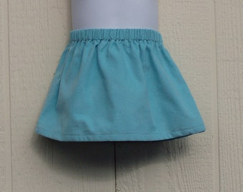 Light Turquoise Corduroy Elastic Waist Skirt,  Size 12-18 Months