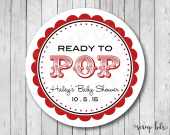 Ready to Pop Stickers, Personalized Baby Shower Stickers, Ready to Pop Tags, Baby Shower Tags