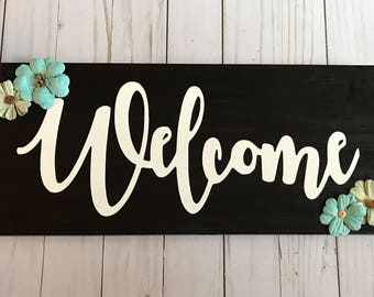 Welcome Sign    Blue and Green Floral Welcome Sign    Entryway Welcome Sign    Hand Painted Wood Welcome Sign
