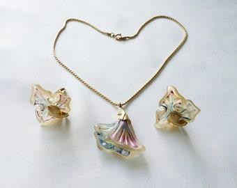 1/2 translucent pendant & earrings set by Emanuel Ungaro vintage resin