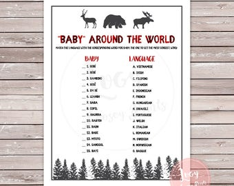 """Baby Shower / Baby Sprinkle """"Baby"""" Around the World Printable Game, Instant Download, Woodland / Forest Theme"""