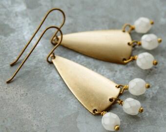 Chandelier Earrings with White Beads, Long Earrings, Geometric Earrings, Golden Brass and White Bead Earrings