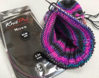 Knit Pro Nova Metal Fixed Circular Knitting Needle, 2.5mm diameter, 25cm long, perfect for sock knitting