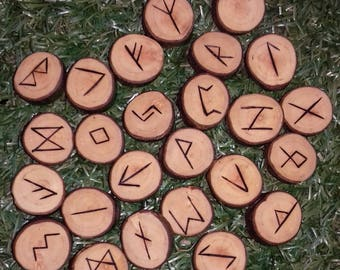 Hawthorn Elder Futhark pyrographed 25 runes + jute bag,unique elder futhark viking norse Hawthorn runes pagan divination Norse