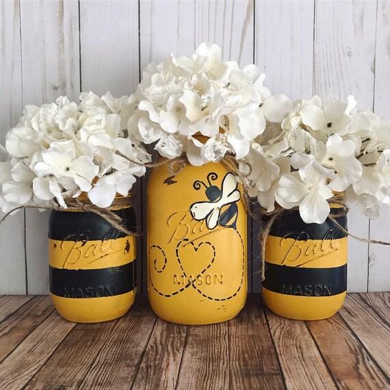 Bee Home Decor: Bumble Bee Mason Jars Home Decor Set Of 3 Mason Jars Black