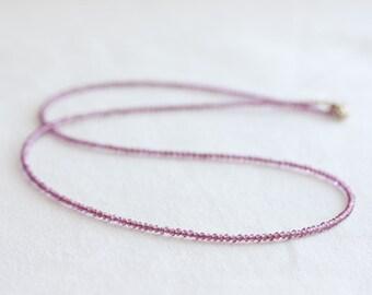 Garnet necklace, Pink rhodolite garnet necklace, Delicate beaded necklace, Tiny gemstone necklace, Dainty garnet layering necklace