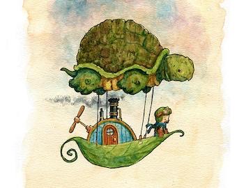 Cutepunk Turtleship Watercolor Print