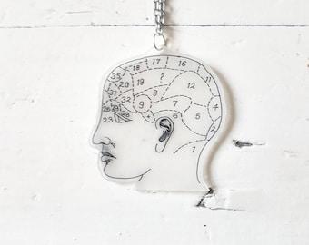 Phrenology Necklace // Phrenology Jewellery // Phrenology Head // Plastic Necklace // Plastic Jewellery
