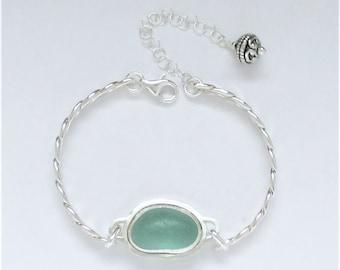 Sea Glass Jewelry - Sterling Aqua Sea Glass Bracelet