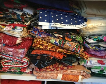 Scrap Bag - 1 Pound of Woven Fabric Scraps of Various Sizes - Sent in Priority Box