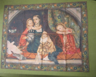 """Antique Wall Tapestry"""" Portrait of Mrs. Leathart"""" and her three children 64"""" x 50"""" U.K. No. PC049"""