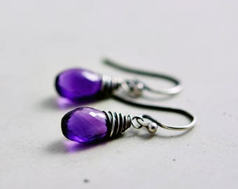 Amethyst Drop Earrings, Amethyst Jewelry, February Birthstone, Dangle Earrings,