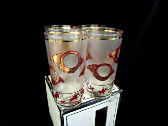 Set of 4 Culver Highballs, Tally Ho Barware by Culver, Original Box, Fox Hunt Barware, Culver Barware