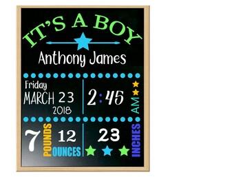 boy birth announcement status chalkboard
