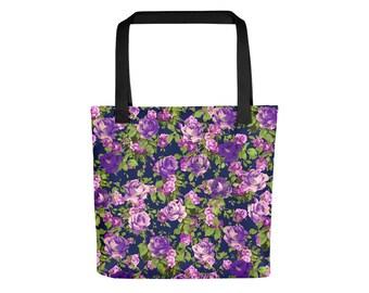 Purple and Violet Rose Ombre Tote Bag | Floral Tote Bag Grunge Bag Rose Bag Boho Bag Flower Bag Festival Bag Shoulder Bag Pastel Grunge