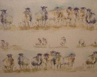 Voyage Decoration Come By Sheep Linen Designer Curtain Upholstery Fabric