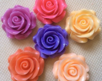 6 pcs 30 mm mixed Cabochon Flowers,mixed 30 mm Rose,resin flower,big rose,mixed rose cabochon,30 mm resin flower,mixed rose flower