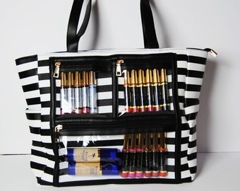 WOW Display Bag | Clear Pocket with zippers Black Striped | LipSense by SeneGence | Younique | Paparazzi Bling Bag | EOs Young Living