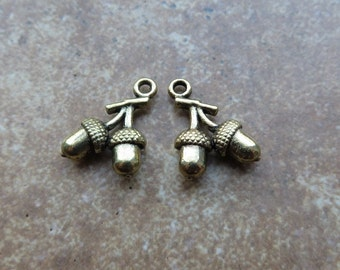 14 Nutty Double ACORN Charms Small Dark GOLD Tone 3-D Fall Acorns Jewelry Component 18x12 mm