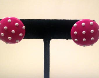 Vintage Earrings/ 1950s Mod Polka Dot Leather Button Studs Electric Hot Pink and White