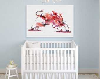 Pink Watercolor goat canvas print painted color art print goat decor for children's room watercolor goat in interior pink goat illustration