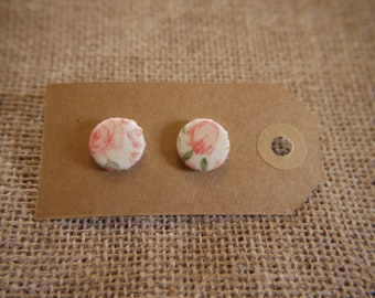 Dusty Peach Floral Button Earrings 15mm