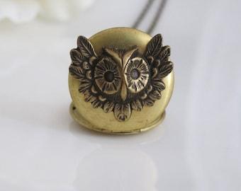 Natur-Vintage inspiriert. Antik Gold Messing Medaillon. Messing Woodlands Eule. Antik Messing lange Halskette. für sie. Abschlussgeschenk