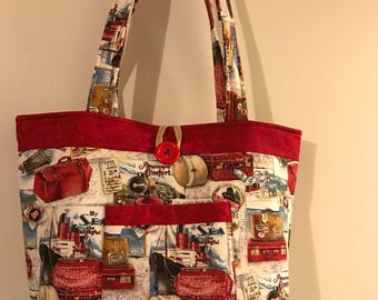 Travel Red Designer Tote